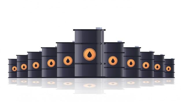Barris de petróleo de metal preto realista conceito de indústria de petróleo isolado horizontal