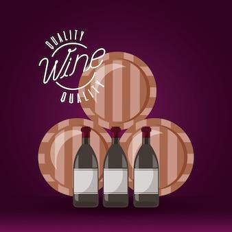 Barris e garrafas de vinho de madeira