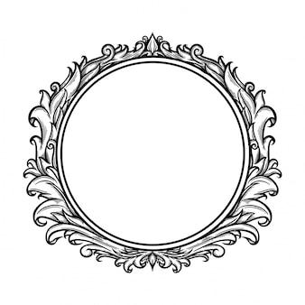 Barroco do ornamento floral para o frame e o canto da beira.