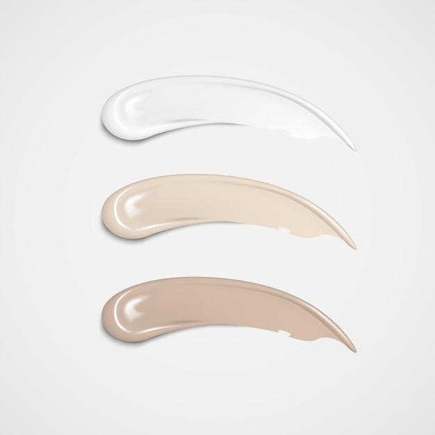 Base de maquiagem definida em tons de pele diferentes na ilustração 3d