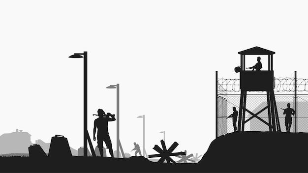 Base militar com silhueta de guardiões em preto