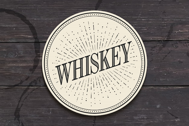 Base para copos de bebidas com inscrição whisky