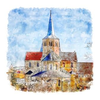 Basilika st. godehard alemanha desenho em aquarela ilustração desenhada à mão