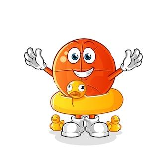 Basquete com desenho de boia de pato. mascote dos desenhos animados