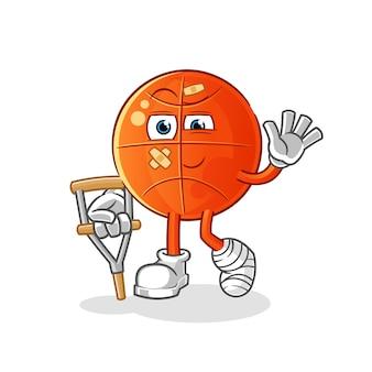 Basquete doente com personagem pau mancando. mascote dos desenhos animados