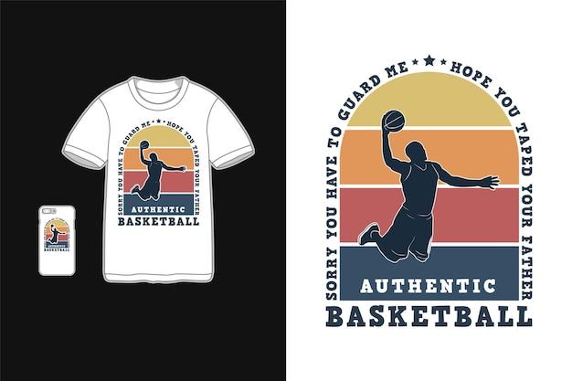 Basquete, maquete de camiseta de mercadoria retrô
