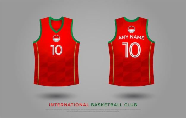 Basquete t-shirt design conjunto uniforme de kit. modelo de camisa de basquete. verde e vermelho