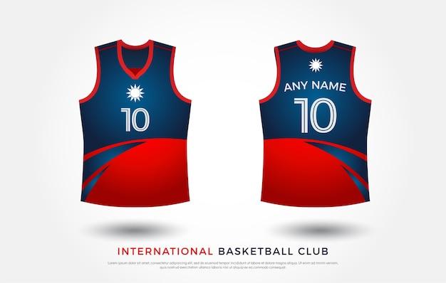Basquete t-shirt design conjunto uniforme de kit. modelo de camisa de basquete. vermelho e azul