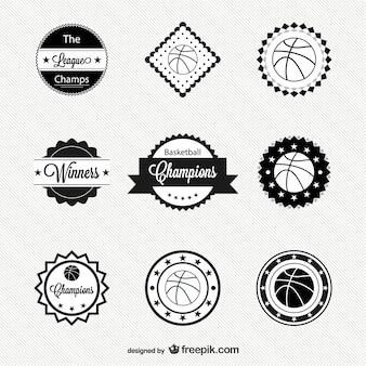 Basquetebol livre emblemas vetor