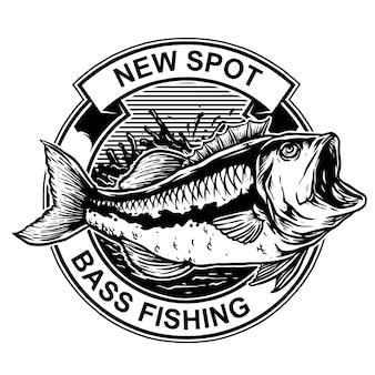 Bass fish com anzol para pesca com emblema de logotipo vintage