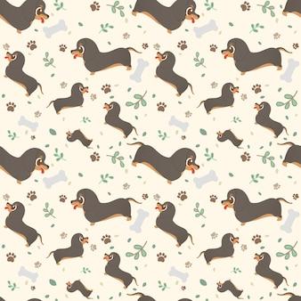 Bassê sem emenda da raça do cão dos desenhos animados do teste padrão com patas, folhas e ossos.