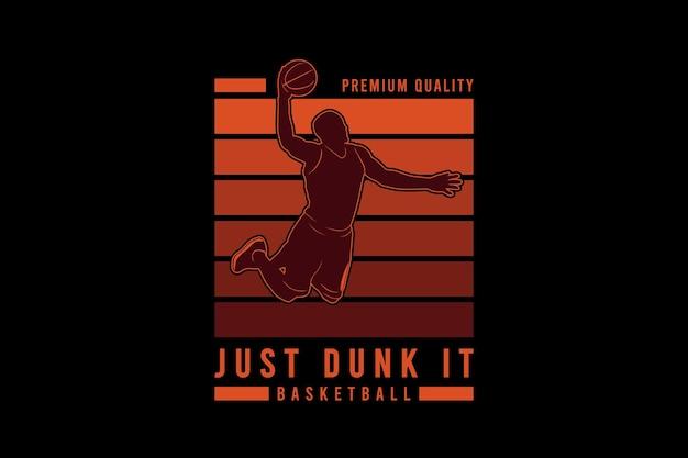 Basta enterrar basquete, tipografia de maquete de silhueta