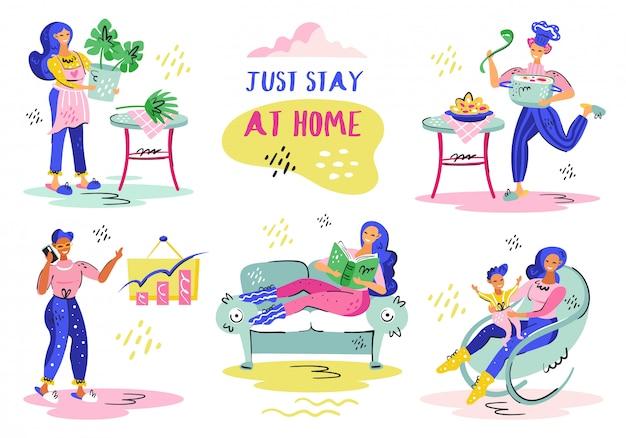 Basta ficar em casa. auto-isolamento pandêmico de coronavírus, assistência médica, proteção. ilustração plana colorida
