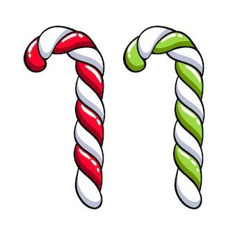Bastão de doces com listras vermelhas, verdes e brancas