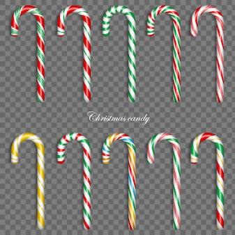 Bastão de doces de natal. doce presente tradicional. elementos de decoração xmax do feriado.