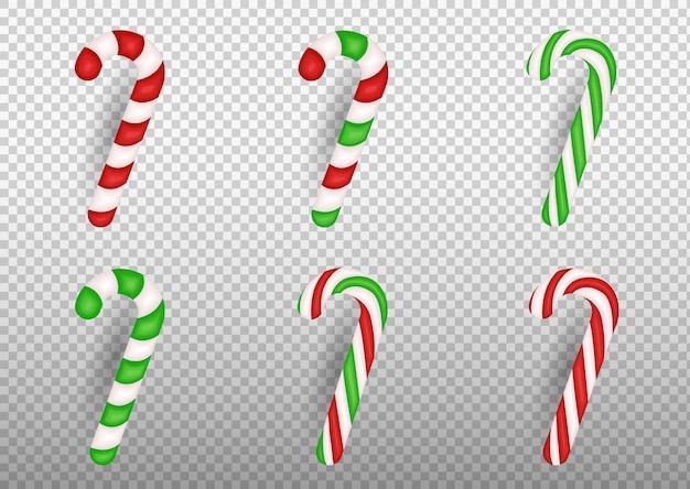 Bastão de doces de natal realista isolado em fundo transparente. modelo de cartão de felicitações no natal e ano novo.