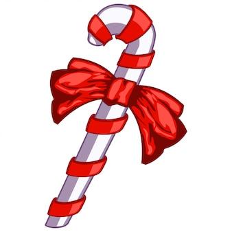 Bastão de doces dos desenhos animados com um desenho de laço vermelho isolado no branco