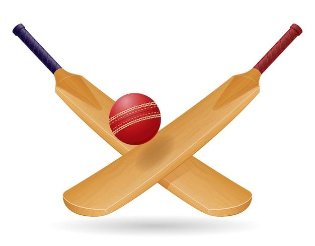 Bastão para jogar críquete ilustração vetorial de esporte isolada no fundo branco
