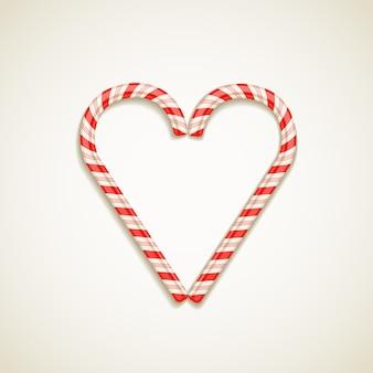 Bastões de doces forma de ilustração vetorial coração conceito de amor