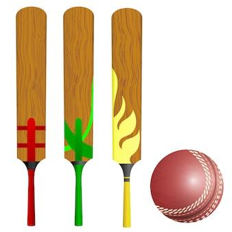 Bastões e bola de críquete