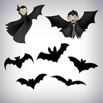 Bat conjunto para o dia do objeto de halloween
