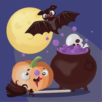 Bat magic mystic holiday halloween animal cartoon desenhado à mão