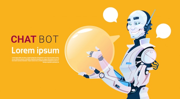 Bata o bot, elemento virtual do auxílio do robô do web site ou aplicações móveis, conceito da inteligência artificial