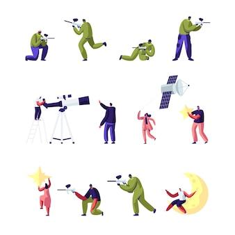 Batalha de paintball e ciência de astronomia conjunto isolado no fundo branco. ilustração plana dos desenhos animados