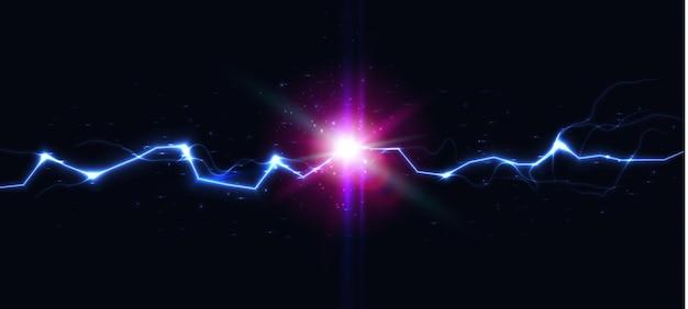 Batalha de relâmpago colisão de trovão contra choque elétrico, carga de bateria, bola de fogo