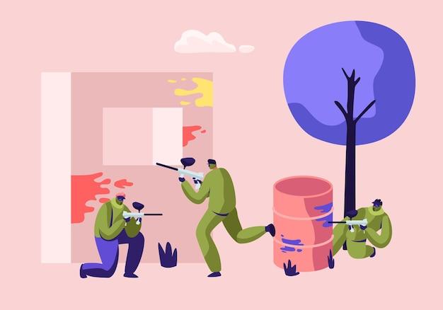 Batalha extrema de paintball. jogadores com uniforme de proteção e máscara apontando e atirando com arma da ilustração de embrasure
