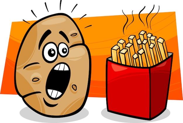 Batata Com Desenhos Animados De Batatas Fritas Vetor Premium
