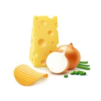Batata frita crocante com queijo e cebola isolada no branco