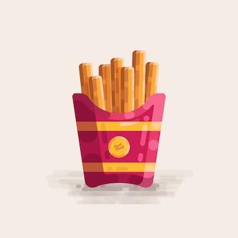 Batata frita em cup fast food vector illustration