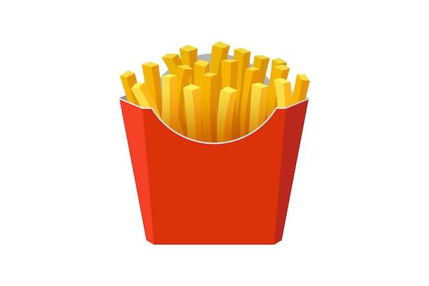 Batata frita saborosa comida de rua rápida em caixa de papelão de papel vermelho, ilustração plana de vetor