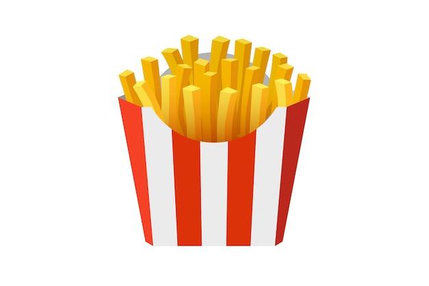 Batata frita saborosa comida de rua rápida em papel vermelho listrado embalagem caixa de vetor plana