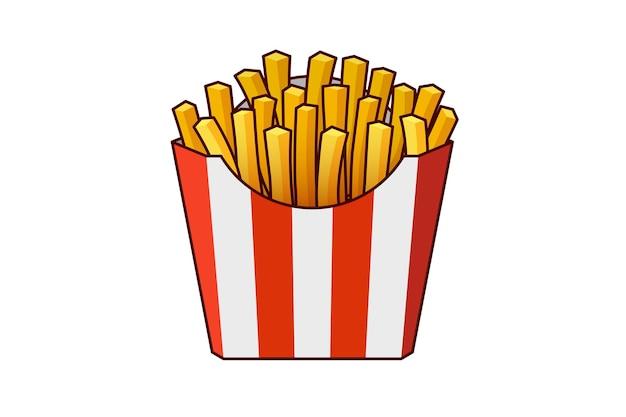 Batata frita saborosa comida de rua rápida em vetor de caixa de embalagem de papelão listrado de papel vermelho