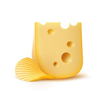 Batata ripple crispy chips com queijo close-up isolado