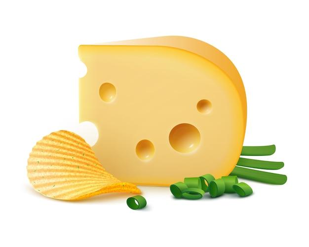 Batata ripple crispy chips com queijo e cebola isolado