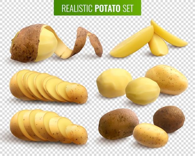 Batatas cruas com raízes inteiras e pedaços fatiados