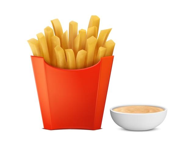 Batatas fritas 3d realistas na caixa de papel vermelho, condimento mayochup na bacia