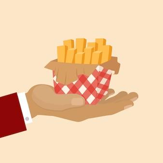Batatas fritas batatas fritas na ilustração de café fastfood de comida de rua de pacote de caixa na mão.