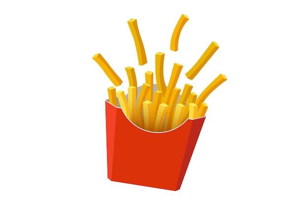 Batatas fritas com batata frita saborosa comida de rua rápida em papelão vermelho embalagem caixa de vetor plana