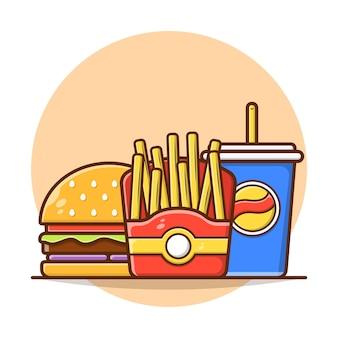 Batatas fritas com hambúrguer e refrigerante no menu de refeições