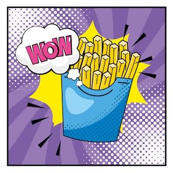 Batatas fritas com wow pop art mensagem