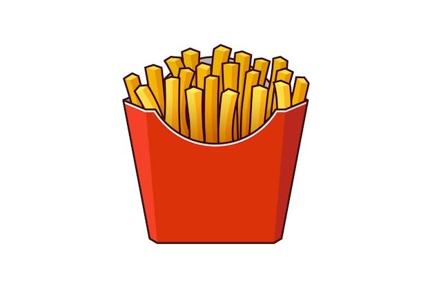 Batatas fritas, comida de rua rápida saborosa em caixa de papelão de papel vermelho, vetor refeição plana eps