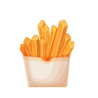 Batatas fritas de vetor em embalagem de cartão