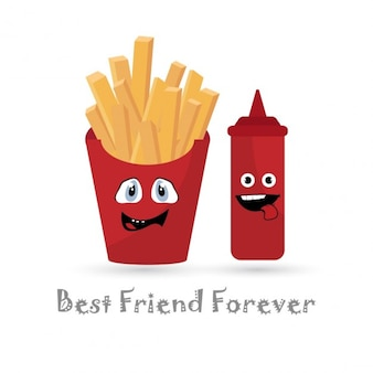 Batatas fritas e ketchup melhor amigo para sempre