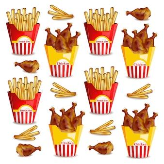 Batatas fritas e padrão de asas de frango