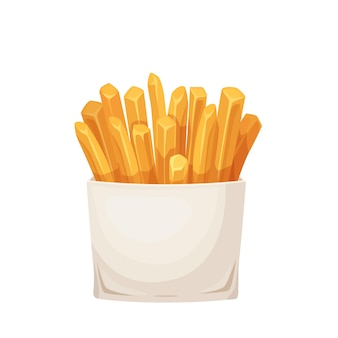 Batatas fritas em caixa de embalagem de cartão. ilustração de fast food
