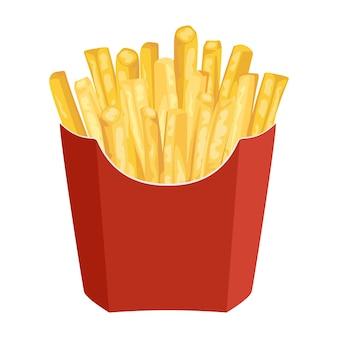 Batatas fritas em embalagem de papel vermelho